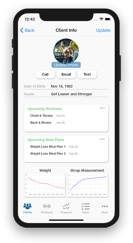 Phone Images showing how a custom branded fitness app for personal trainers can strengthen your brand, add professionalism and add a personalized feel all for an affordable cost