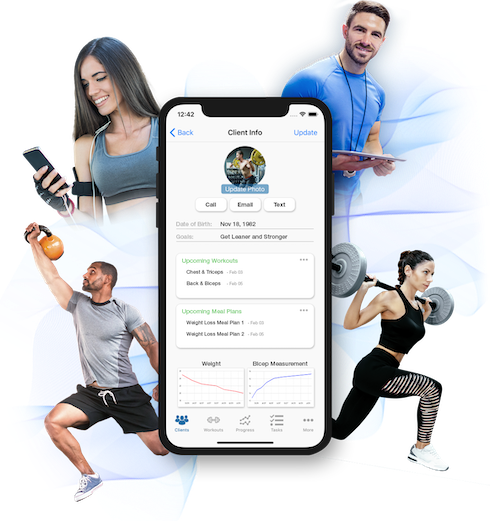 FitSW Personal Training Fitness Software displayed on phone, with individuals working out and performing different exercises around it.