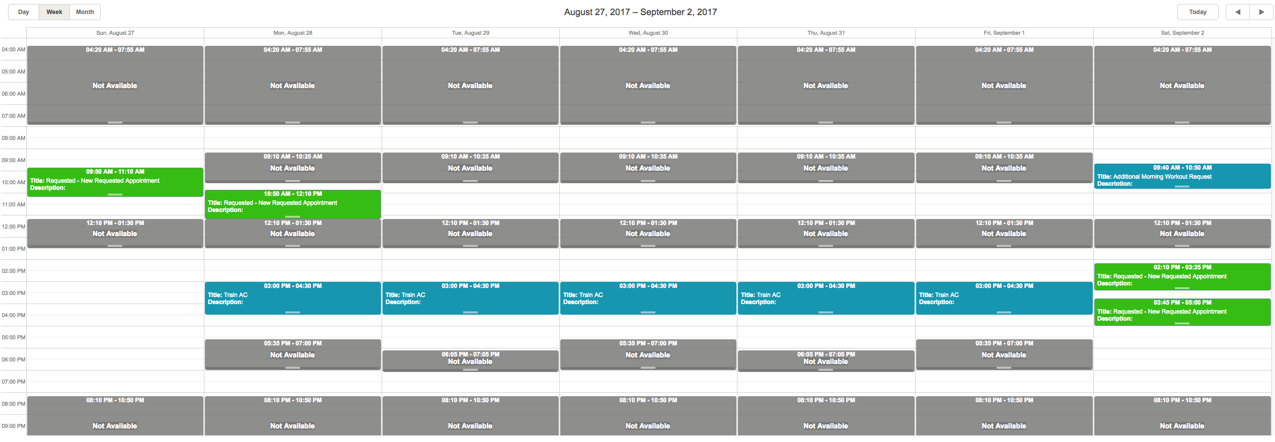 Here is what the Client sees when looking at the scheduler.