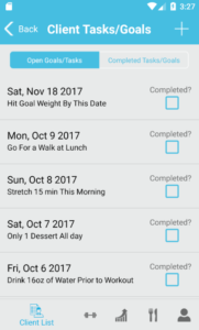 The FitSW Android App enables your to track completion of various goals and tasks for your clients.