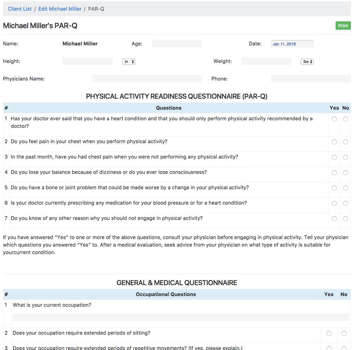 PAR-Q Online Creator Clients Create Paperless PARQ