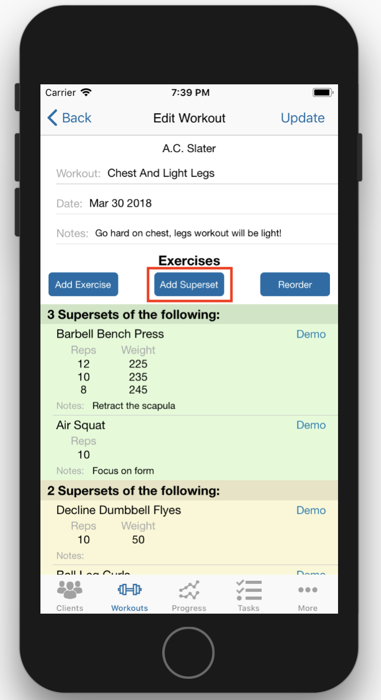 Create Superset Workouts on Phone