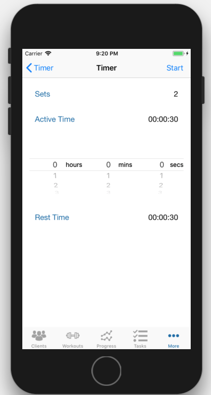 iOS Interval Timer App Personal Trainer Set Screen