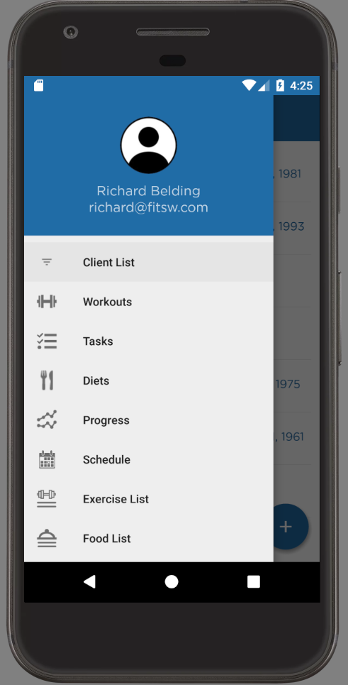 Android App For Personal Trainers Sidebar