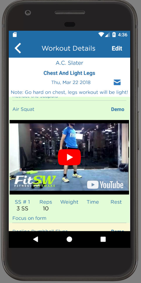Android App for Personal Trainers Workout Demo Video
