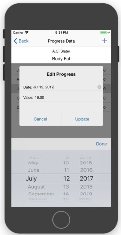 Client Fitness Progress Tracking Edit Data