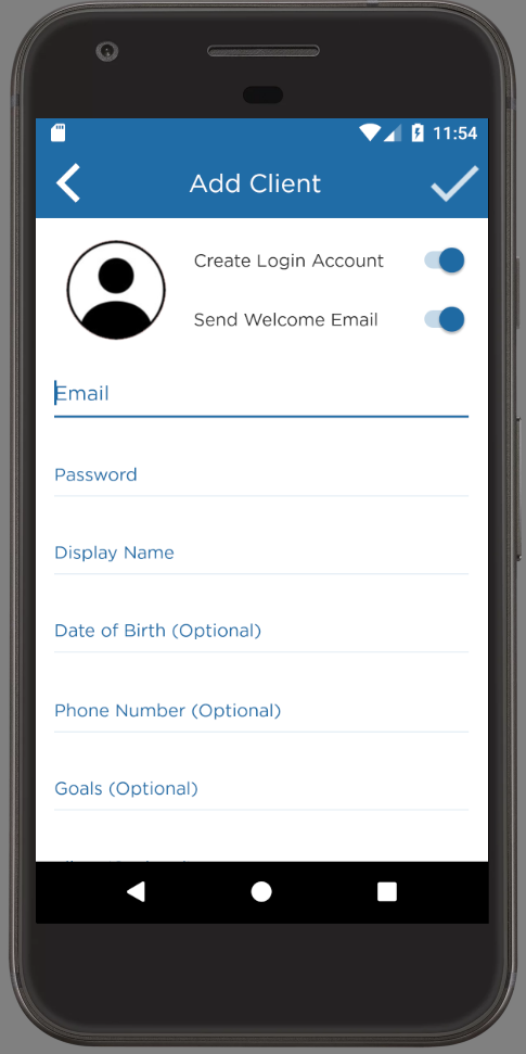 Personal Trainer App Android Client Accounts