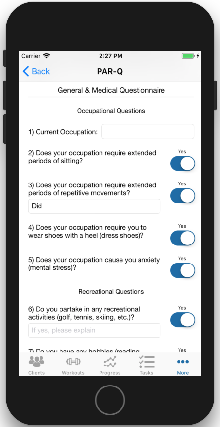PARQ iOS App General and Medical Questionnaire Section