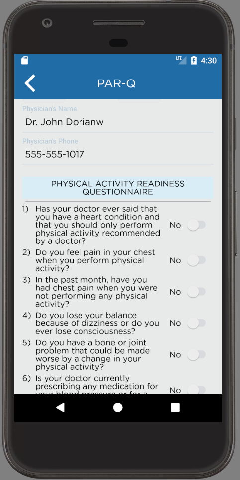 PAR-Q Android App Physical Activity Readiness Questionnaire Fillout Form