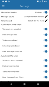 Android Tablet Personal Trainer Software Settings Screen