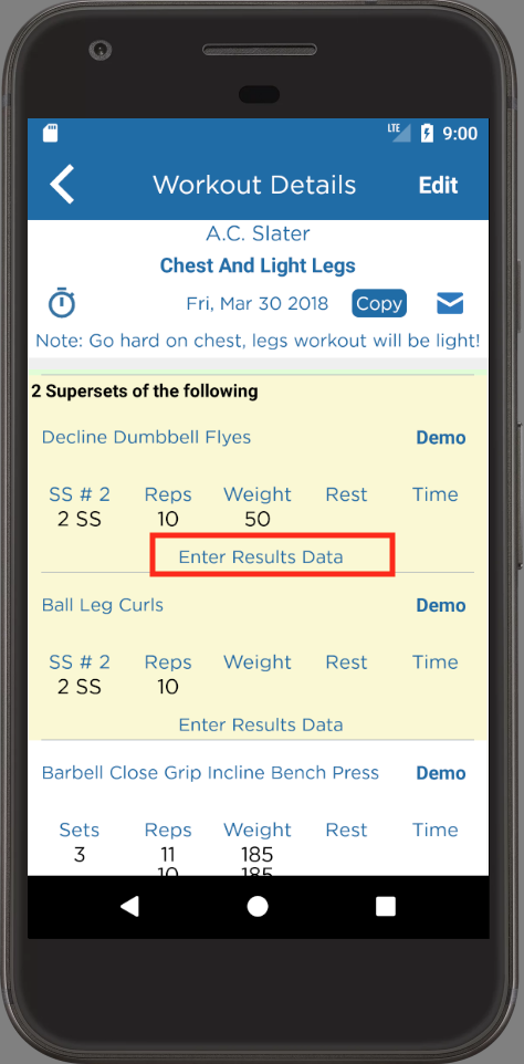 Tracking Client Workout Results Workout Details Page Android