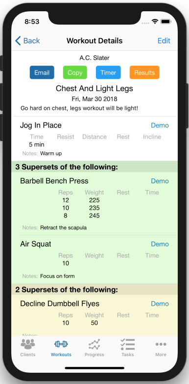 Tracking Client workout Results workout details page
