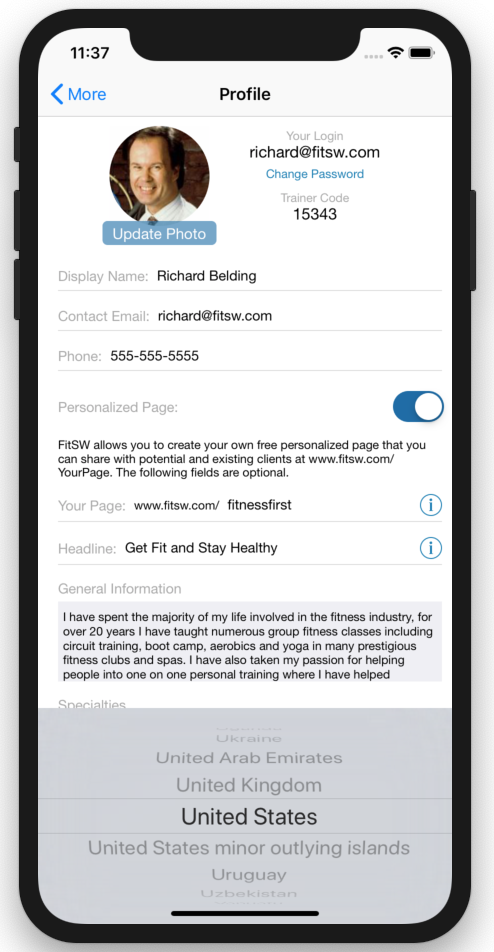 Personal Trainer Custom Web Page Updates Select Country Mobile