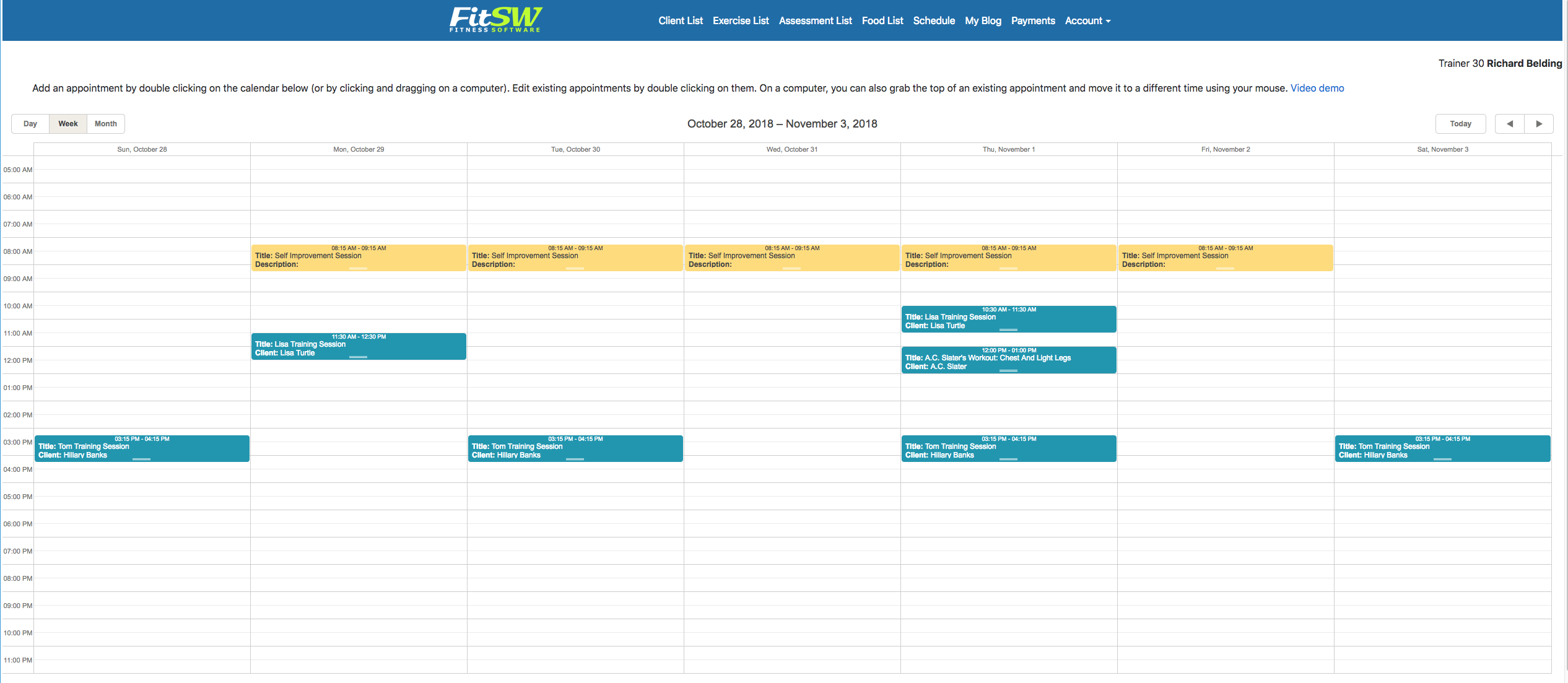 Personal Trainer Scheduler Calendar Website View