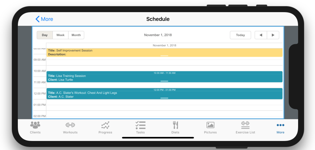 Personal Trainer Scheduler Improvement Calendar View