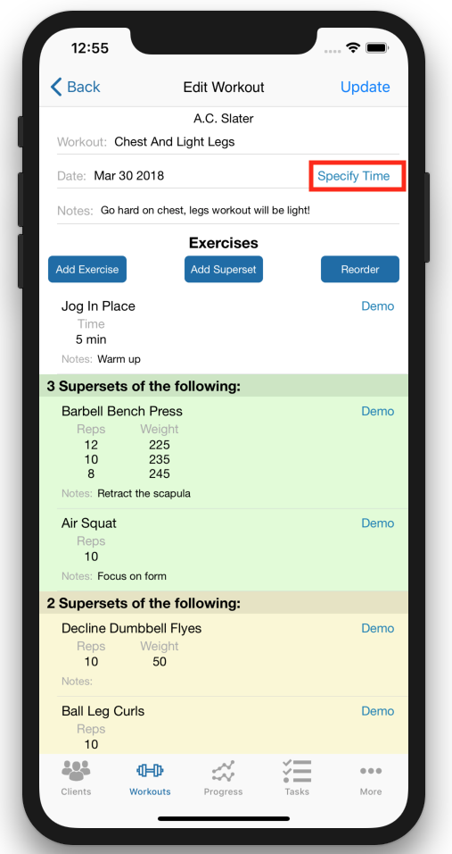 Personal Trainer Scheduler Improvements Specify Time
