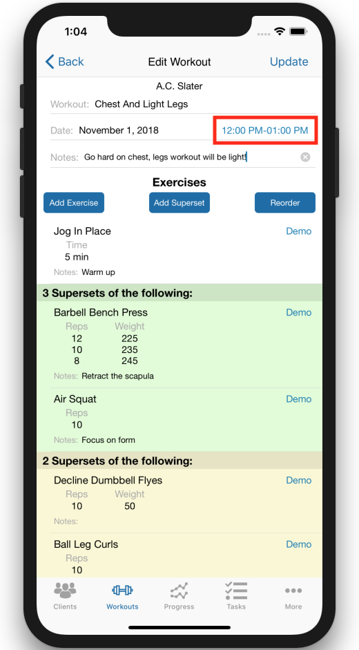 Personal Trainer Scheduler Improvements Times Selected