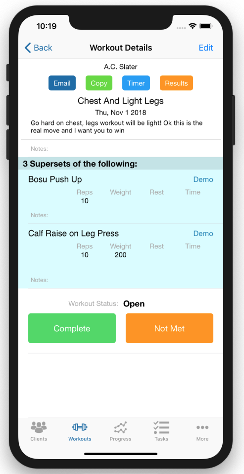 Personal Trainer Workout Tracker Improvements Workout Details Page